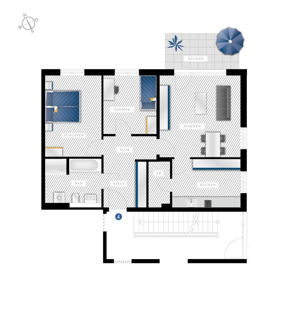 Grundriss Eigentumswohnung Grossmannstrasse – WE04
