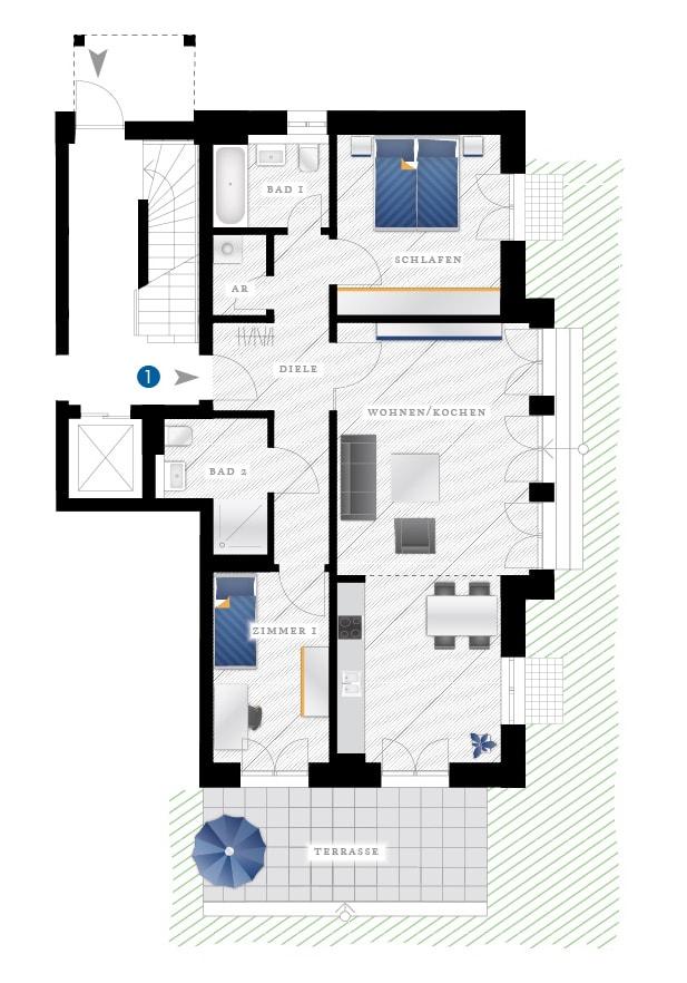 Grundriss Eigentumswohnung Eichstraße 10 – WE01