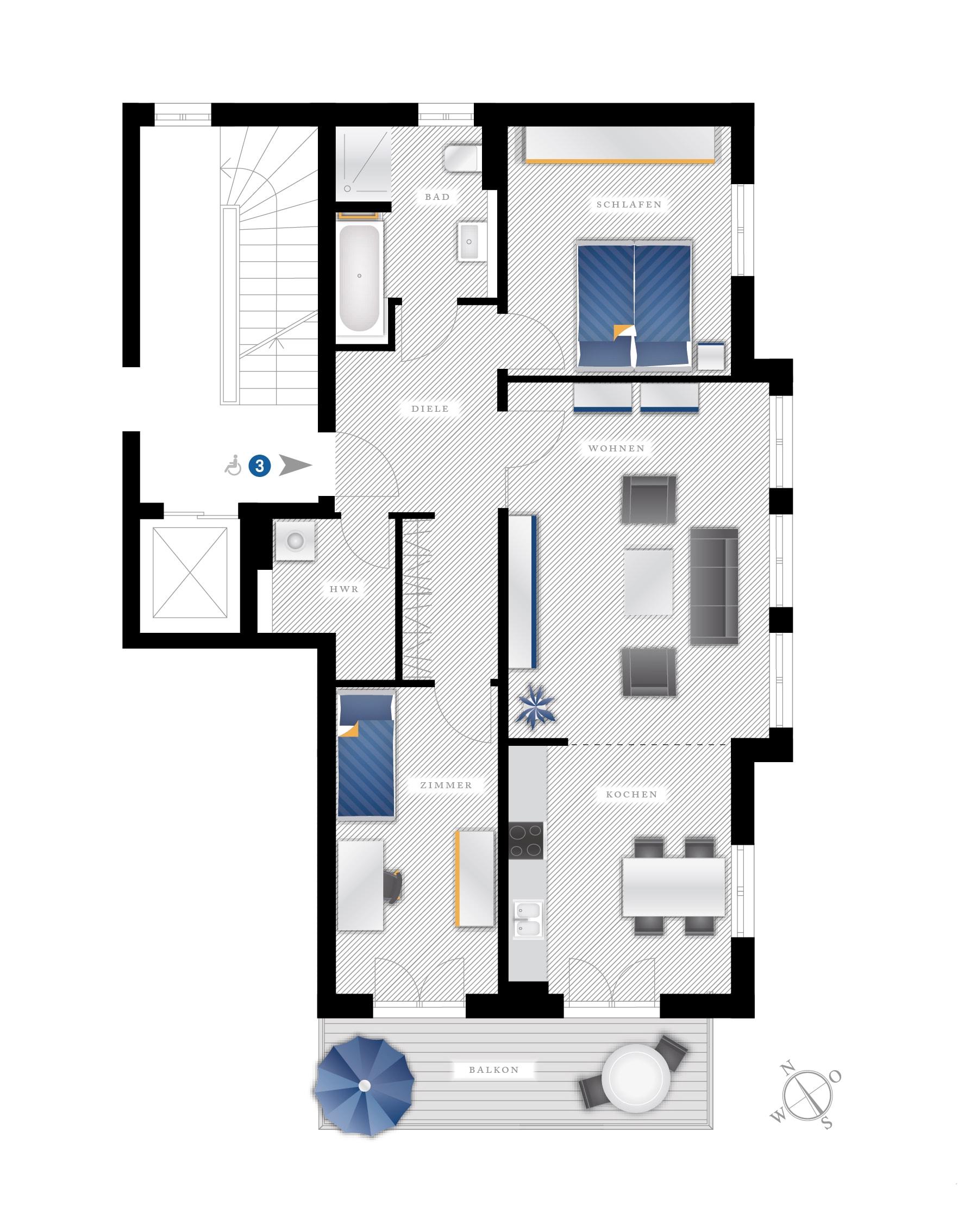 Grundriss Eigentumswohnung Eichstraße 10 – WE03