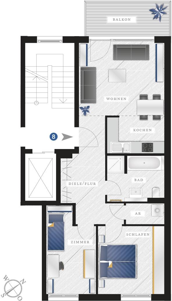 Grundriss Eigentumswohnung Zwickauer Str. 122 – Wohnung 08
