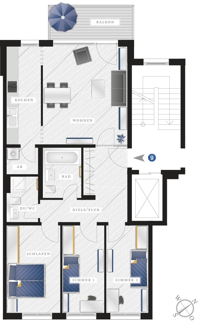 Grundriss Eigentumswohnung Zwickauer Str. 122 – Wohnung 09