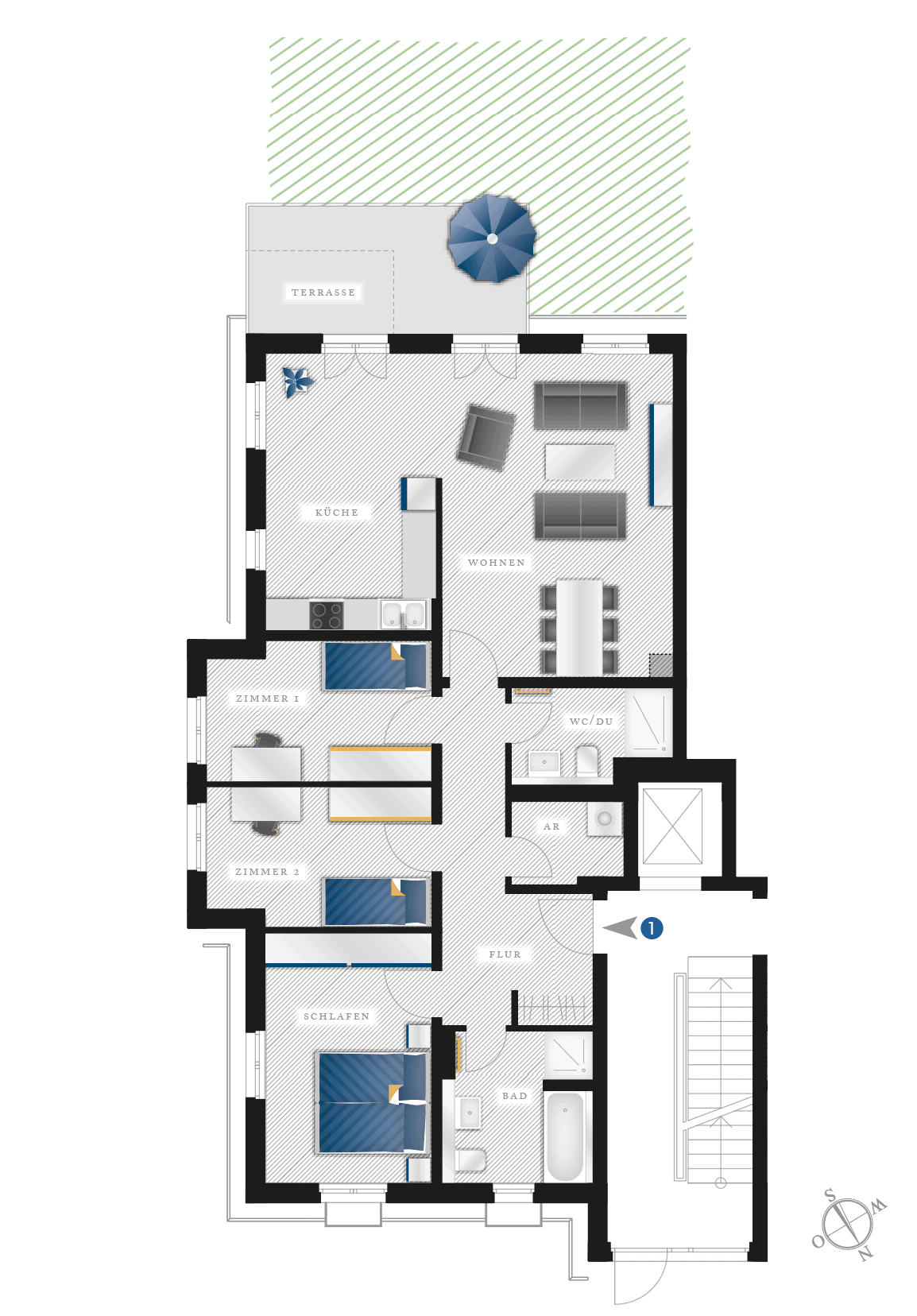 Grundriss Eigentumswohnung Heubnerstr. 18 a, b – Wohnung 01 mit Garten
