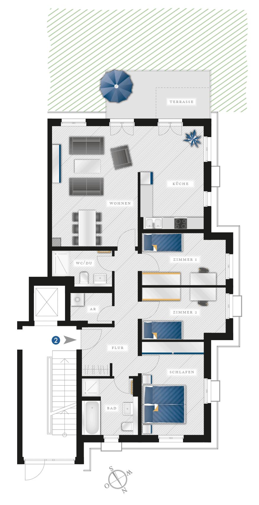 Grundriss Eigentumswohnung Heubnerstr. 18 a, b – Wohnung 02 mit Garten