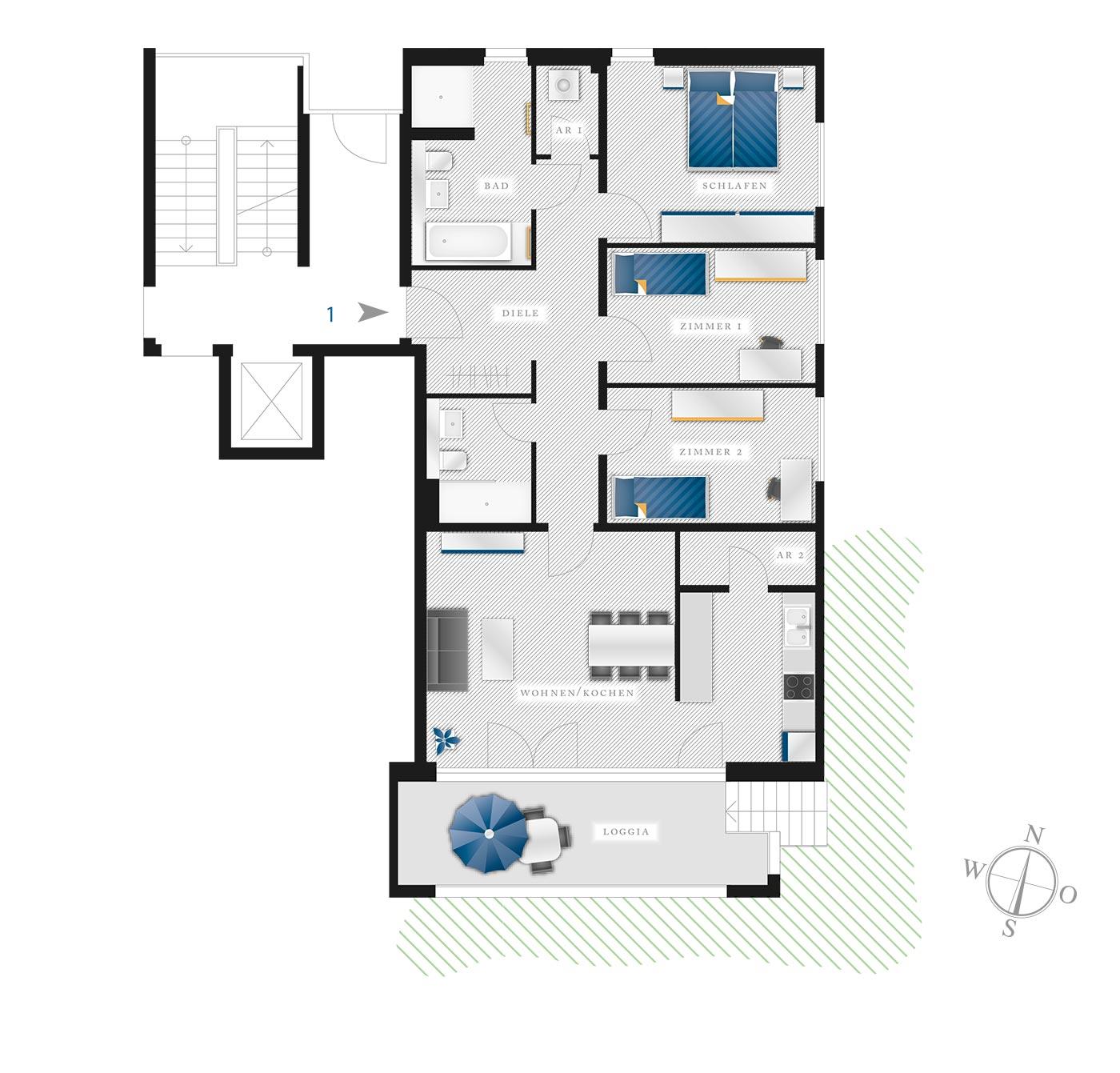 Grundriss Eigentumswohnung Kötzschenbroder  Strasse 22 – Nr 1