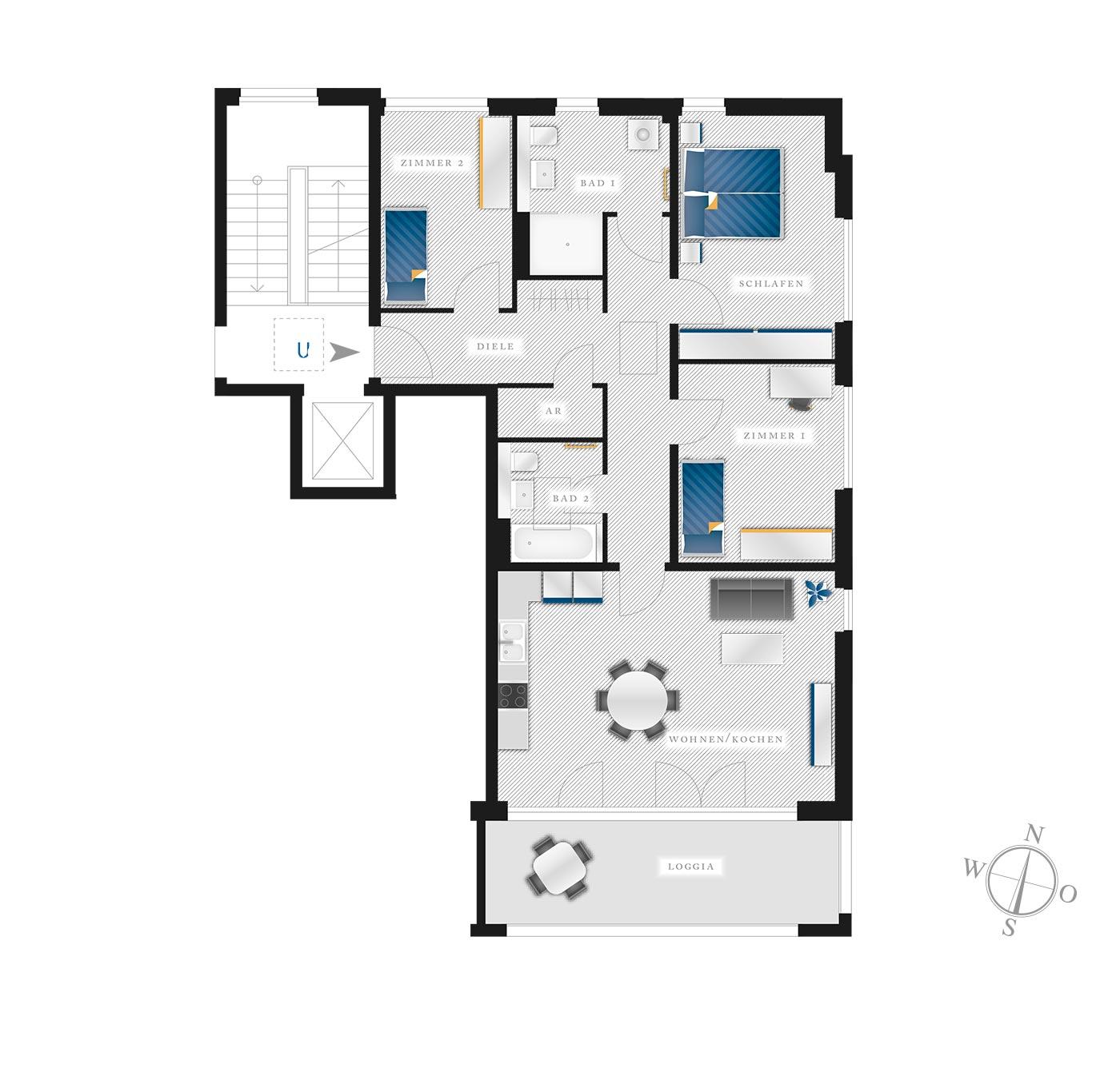 Grundriss Eigentumswohnung Kötzschenbroder  Strasse 22 – Nr 10