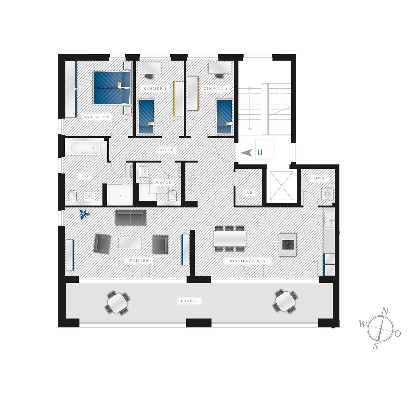 Grundriss Eigentumswohnung Kötzschenbroder  Strasse 22 – Nr 11
