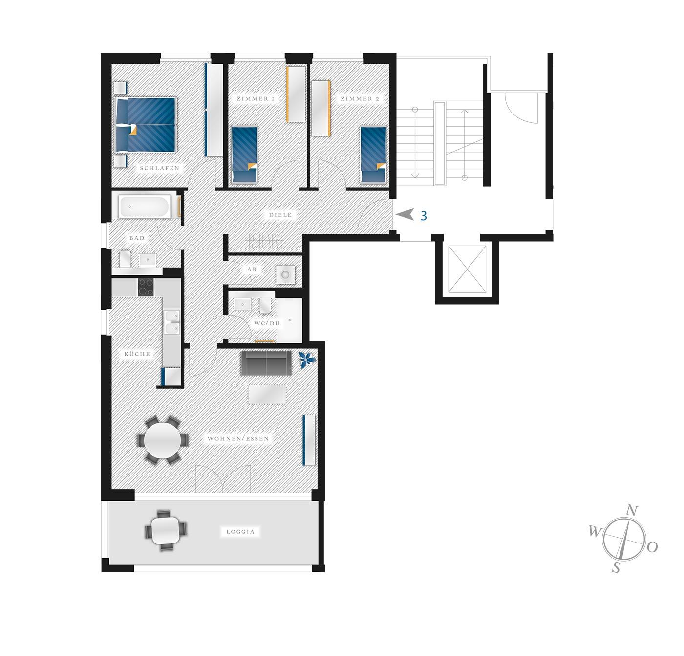 Grundriss Eigentumswohnung Kötzschenbroder  Strasse 22 – Nr 3