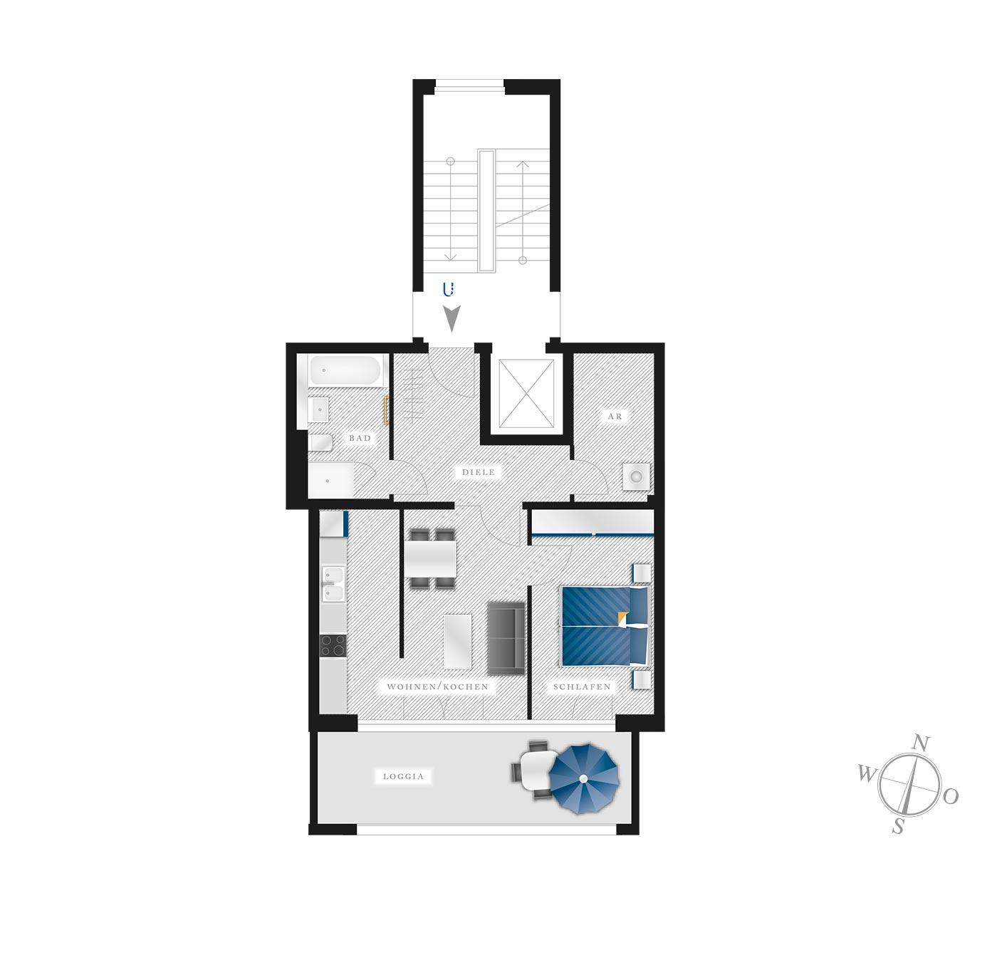 Grundriss Eigentumswohnung Kötzschenbroder  Strasse 22 – Nr 5