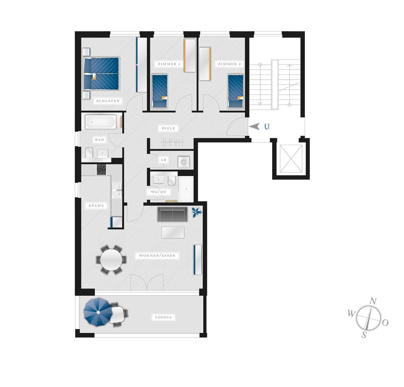 Grundriss Eigentumswohnung Kötzschenbroder  Strasse 22 – Nr 6
