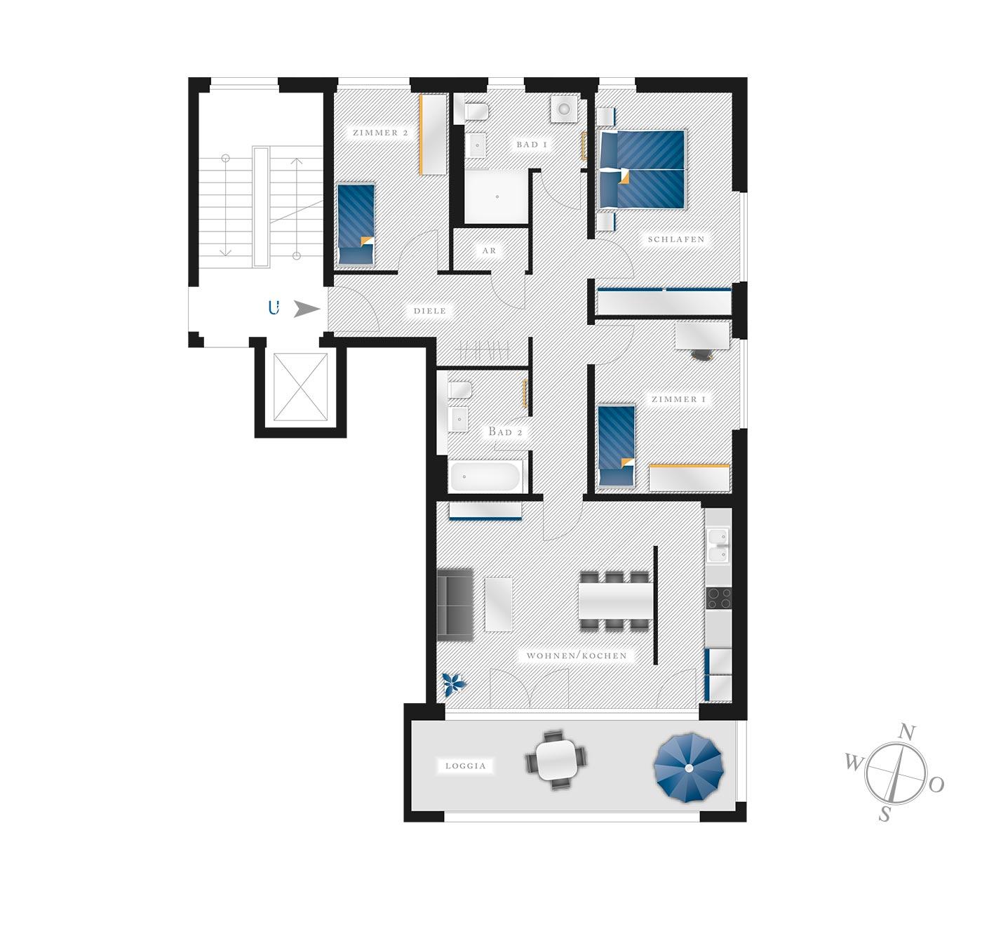 Grundriss Eigentumswohnung Kötzschenbroder  Strasse 22 – Nr 7