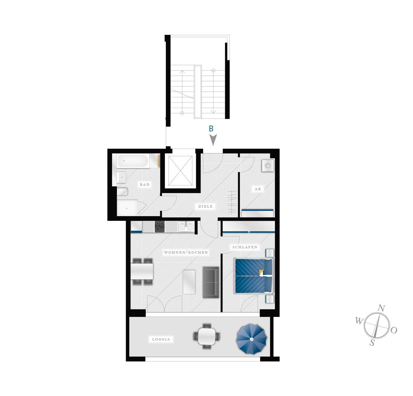 Grundriss Eigentumswohnung Kötzschenbroder  Strasse 28 – Nr 2