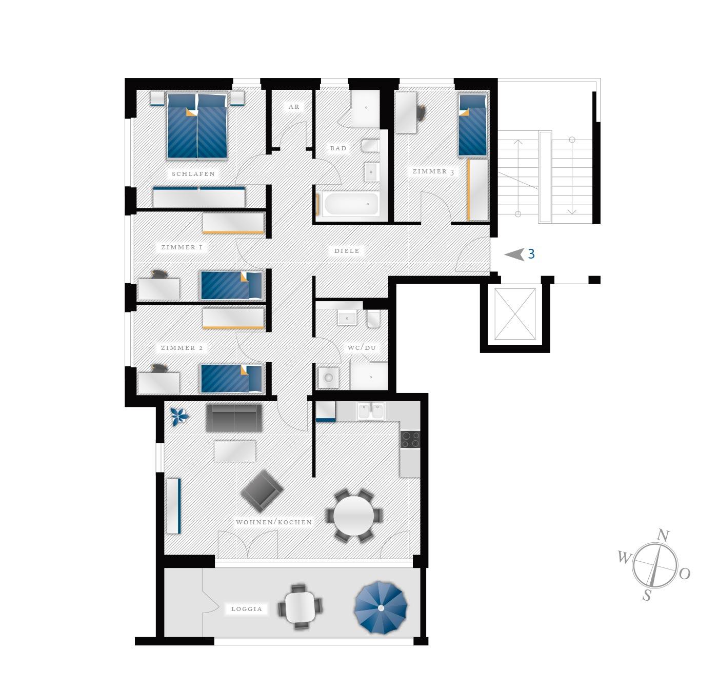 Grundriss Eigentumswohnung Kötzschenbroder  Strasse 28 – Nr 3