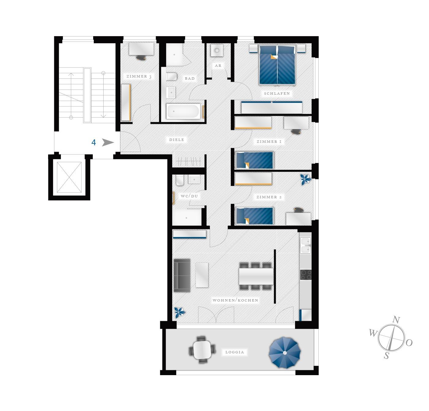 Grundriss Eigentumswohnung Kötzschenbroder  Strasse 28 – Nr 4