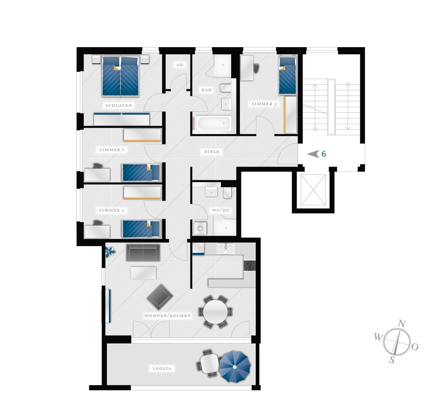 Grundriss Eigentumswohnung Kötzschenbroder  Strasse 28 – Nr 6