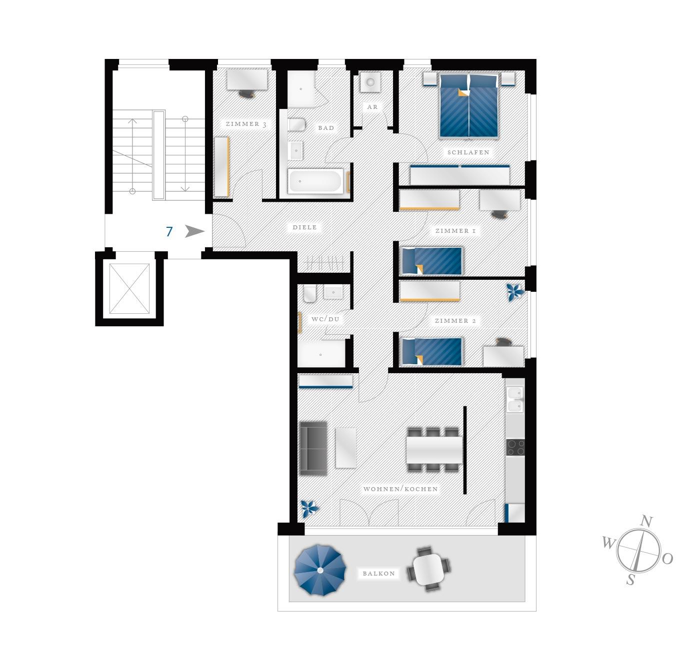 Grundriss Eigentumswohnung Kötzschenbroder  Strasse 28 – Nr 7
