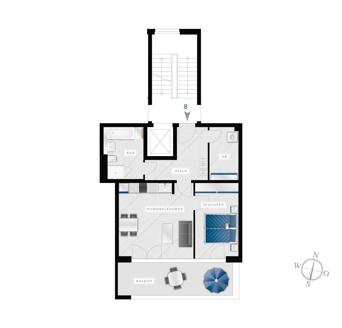 Grundriss Eigentumswohnung Kötzschenbroder  Strasse 28 – Nr 8
